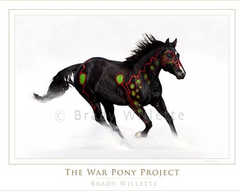 Poster of Blackfeet Warrior War Pony White with Red, Blue and Black Indian SymbolsCrow War Pony-2  Black War Pony Running Through Snow