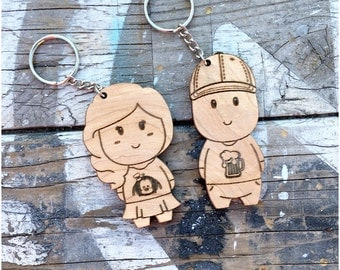 Personalized His & Hers Couple Keychain (2 Pairs) - Engraved Cute Wedding Gift Key Chain Ring Christmas