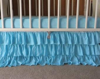 "Aqua Ruffle Crib Skirt, Crib Dust Ruffle, 3 Tiered Crib Skirt, Aqua Turquoise 3 Tiers Skirt Nursery, 16"" Drop"