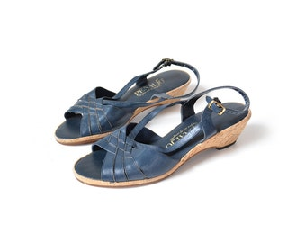 Blue Sandal, size 7 sandal, Cork Sandal, Vintage Blue Sandal, Womens SHoes WOmens Sandals