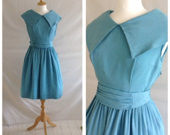 1950s Dress, Sky Blue, Full Skirt, Party Dress, UK size 10, US size 8.