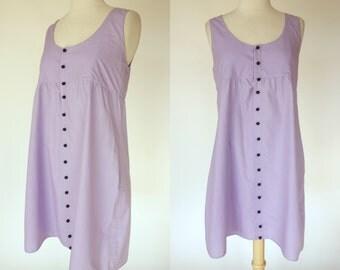 1960s purple dress, sleeveless, cotton, button up summer sundress, small
