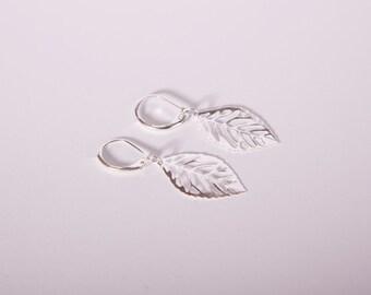 Silver Plated Earrings Leaf Silver Leaves Ear Rings Studs Dangly Earrings  Feather
