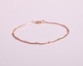 Pretty Bracelet  Rose Golden Ball Chain Beads Chain Plated  Rose Gold Plated Ballchain Rosegold