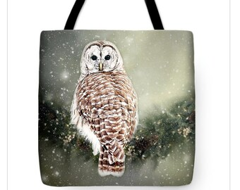 Owl Tote Bag, Barred Owl Canvas Tote, Double Sided TOTE BAG-Shopping Bag-Market Bag, Unique Tote Bag, Gift for Her,  Barred Owl Snow Tote