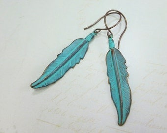 Feather Earrings Turquoise Blue Patina Feather Ear Dangles Bohemian