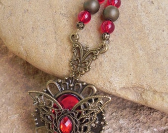 Bronze red butterfly victorian fantasy necklace
