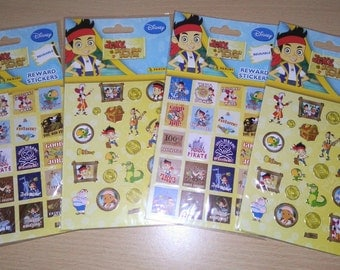 Lot of 4 sheets of Disney Junior Jake and The Neverland Pirates stickers