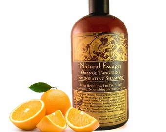 Orange Tangerine Invigorating Shampoo, organic shampoo for all hair types, all natural shampoo, sulfate free, best shampoo for all hair!