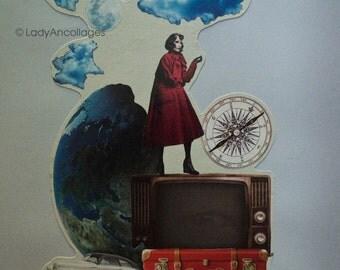 "Original square surrealistic handmade collage ""The World Is Mine"". Paper."