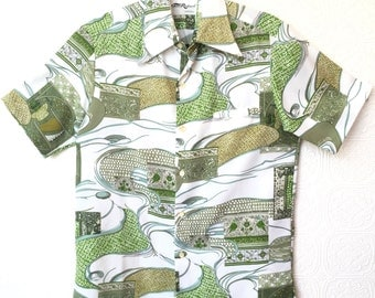 1960s Aloha Shirt / Hawaiian Shirt / By Tori Richards / Green / Swirl Disco Print