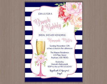 Bridal Shower Brunch,  Watercolor Invitation, Wedding Shower Invitation, Champagne Bridal Shower, Brunch and Bubbly, Brunch & Bubbly