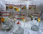 Vintage Corelle 14 Oz Glassware Cooler by Corning for the Cornerstone Collection / Pattern Abundance / Fruit