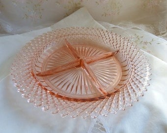 Vintage 1930s Depression Glass Round Relish Dish in Miss America-Pink by Anchor Hocking