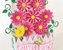 Whimsy Floral Garden Card In A Box 3D SVG