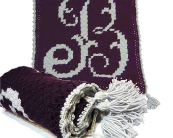 Personalized Baby Blanket, C2C Afghan, Graphghan, Baby shower gift, Edwardian Monogram