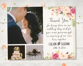 "Wedding Thank You Magnets - FloralDream Rustic Photo Personalized 4.25""x5.5"""