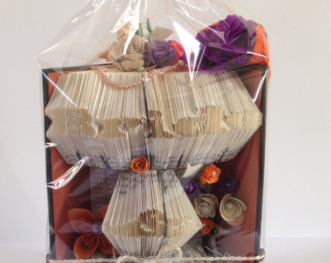 Bride & Groom Book Folding Art, Purple Orange and Black Wedding
