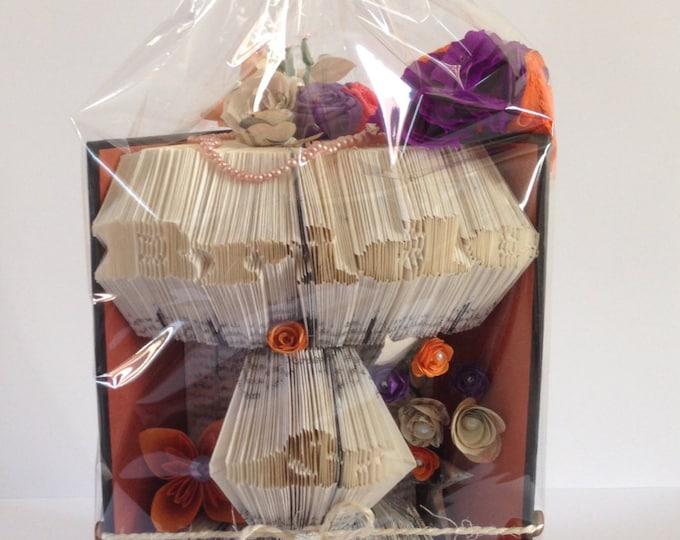 Bride & Groom Book Folding Art, Purple Orange and Black Wedding