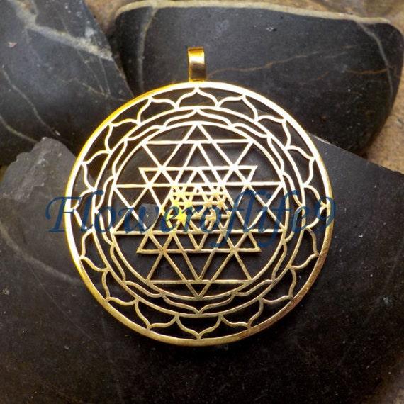 sri yantra pendant 1 3 4 brass