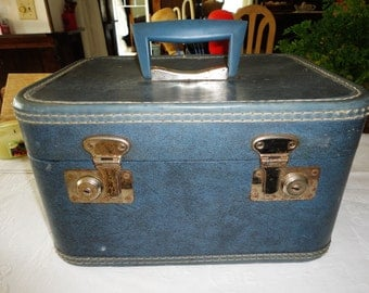 Vintage Blue Luggage Train Case Travel Case Cosmetic Case Overnight Case Footed Bottom