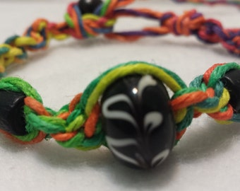 Rainbow Glass Bead Hemp Bracelet