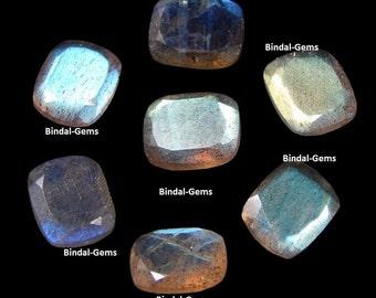 10 Pieces Lot Natural Labradorite Octagon Cushion Faceted Cut Loose Calibrated Gemstone