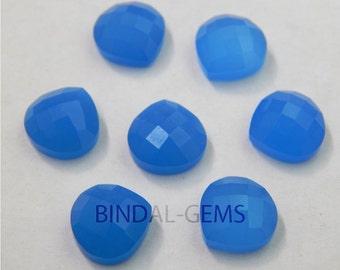 10 Pieces Lot Blue Chalcedony Heart Shape Checker Cut Loose Gemstone