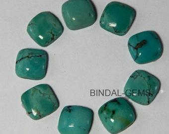 10 Pieces Lot Natural Turquoise Cushion Shape Loose Gemstone Flatback Cabochon