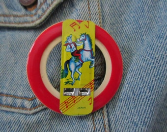 Vintage Western Cowboy Tin Whistle One-of-a kind Brooch
