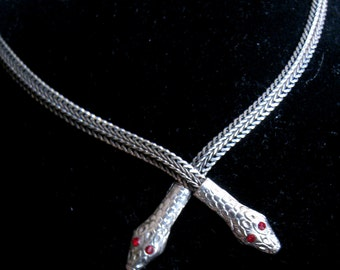 Vintage Silver Tone Double Snake Head Necklace with Red Rhinestone Eyes