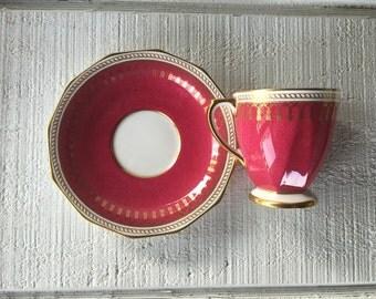 Vintage Copelands China Spode Maroon Ryde demitasse cup and saucer, Spode china tea cup / saucer, vintage England gold bone china tea set