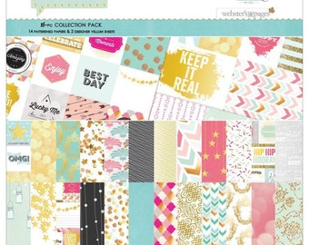 SHIPS FREE!  Webster's Pages #Happy Collection Kit - 14 Double Sided Sheets, 2 Vellum Sheetsr