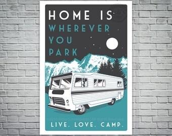 vintage retro camping  poster live love camp camper