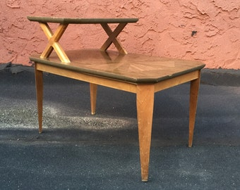 Mid-Century Modern Sculpted Two-Tier End Table
