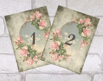 Wedding Table Number Cards Vintage Style flowers and clouds rose sky names shabby chic party centrepiece