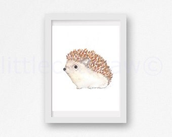Little Hedgehog Art Print Illustration Art Watercolor Painting Woodland Animal Print