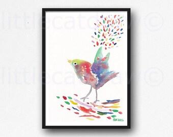 Happy Colorful Bird Art Print Illustration Watercolor Painting Print Watercolour Colorful Art Print Unframed