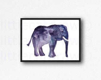 Elephant Print Blue Grey Elephant Watercolor Painting Animal Wall Art Gray Home Decor Unframed Art Print Littlecatdraw