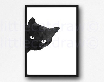 Black Cat Sneaky Cat Left Print Watercolor Cat Art Black Cat Watercolor Painting Print Watercolour Wall Art Watercolor