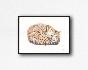 Sleeping Tabby Cat Art Print Watercolor Cat Art Cat Painting Watercolour Wall Art Watercolour