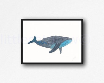 Grey Teal Whale Watercolor Painting Art Print Watercolor Print Watercolour Wall Art Watercolor