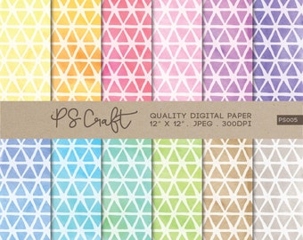 Triangles Watercolor Digital Papers, Rainbow Triangles Background,  Modern Geometric Pattern