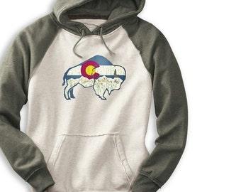 Colorado Buffalo Hippy Hoodie, Oatmeal and Green