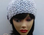 Womens Crochet Ear Warmers, Fall/Winter Olivia Headband with Buttons, Chunky Style, Grey Marble