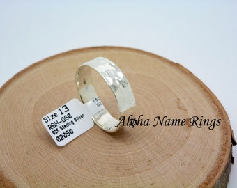 Hammered Solid 925 Sterling Silver Band Hand Stamped and Hand Painted Ring  6mm