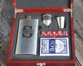 Personalized Flask and Poker Gift Set, Liquor and Game Set