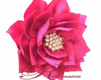 Hot pink   Lotus  flower with rhinestone centre , great for headband , hair clips and sewing project