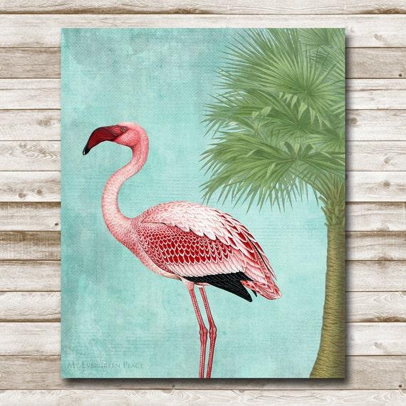 Flamingo Printable Home Decor Tropical Beach House Decor