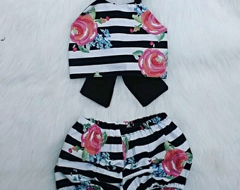 floral pink and stripe crop top with bow and blubble shorts